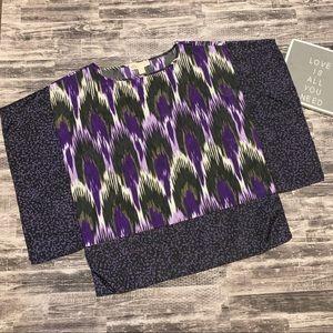Purple and Black Ikat Style Michael Kors Blouse